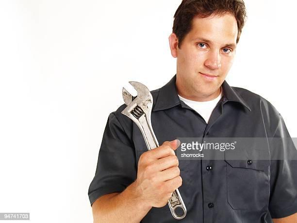 Mechanic Portrait Isolated on White