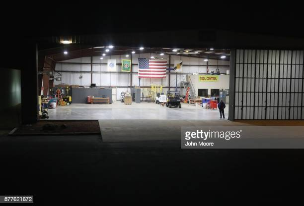 A mechanic waits as a US Customs and Border Protection pilot lands a helicopter after flying over the Big Bend area of west Texas on November 22 2017...