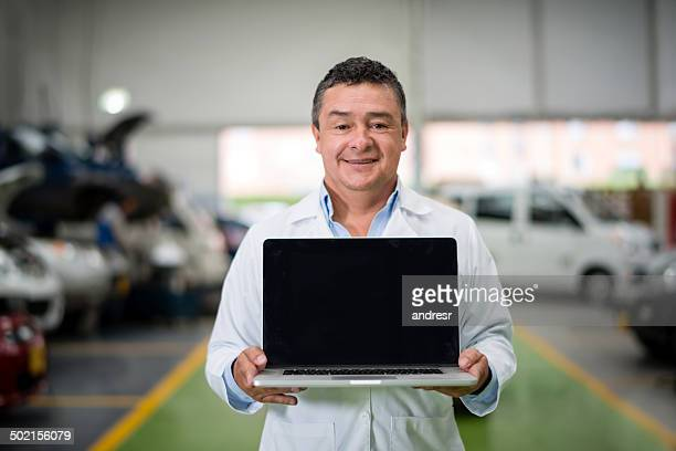 Mechanic with a laptop