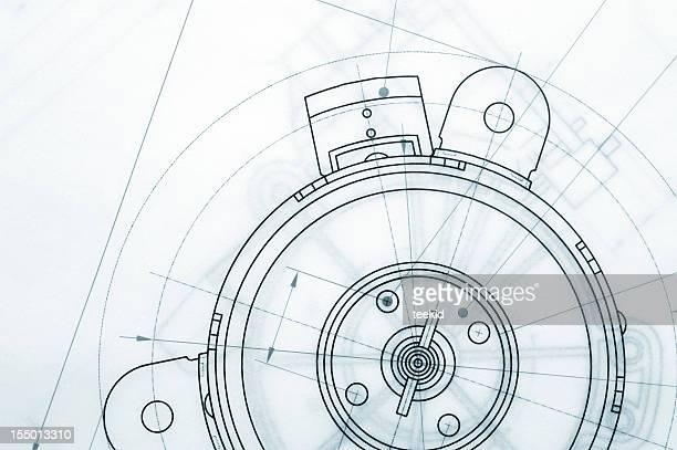 mechanische technische zeichnung - technische zeichnung stock-fotos und bilder