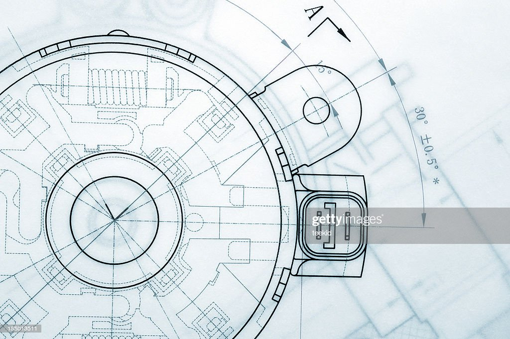 Mechanical Industry Blueprint : Stock Photo