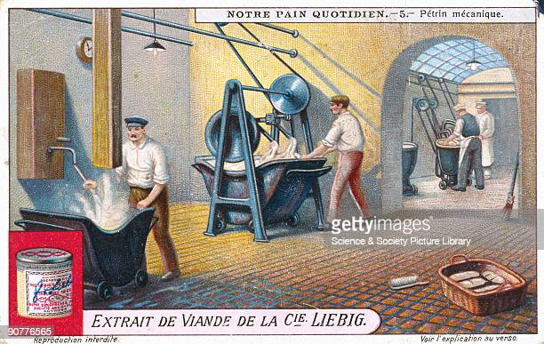Mechanical kneading machine Liebig trade card early 20th century No 6 in the 'Notre Pain Quotidien' series of French trade cards by Liebig showing...