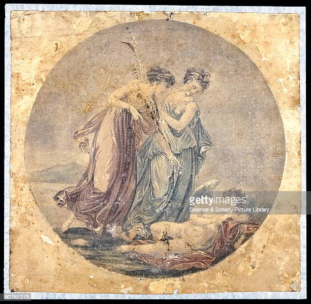 Mechanical painting of a classical allegory by Francis Eginton after a painting by Angelica Kauffman or Ryland�s 1776 engraving of it The mechanical...