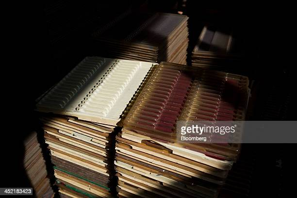 Mechanical pencil tray packaging sits stacked at the AW FaberCastell Stationery Co factory in Guangzhou Guangdong province China on Tuesday Nov 26...