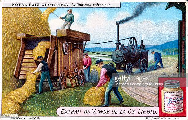 Mechanical threshing machine Liebig trade card c191020 'Batteuse mechanique' No 3 in the 'Notre Pain Quotidien' set of trade cards The bulk harvest...