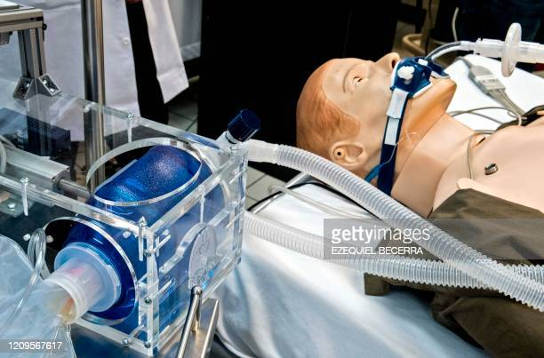 A mechanical ventilator developed in the University of Costa Rica to be used for patients infected with CIVID19 is tested in San Jose on April 2 2020...