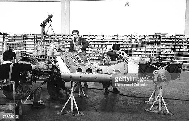 Mechanics building up the prototype P400 Miura at the Lamborghini Factory in Sant'Agata October 1965