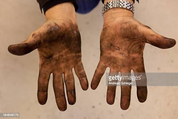 Mechanic's dirty hands