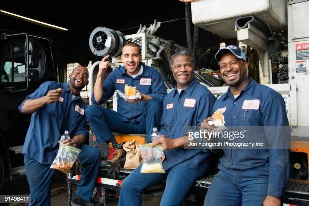 Mechanics eating lunch together