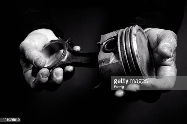 mechanic's hands - piston stock pictures, royalty-free photos & images