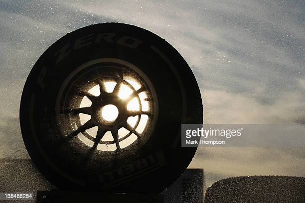 Mechanics wash down Pirelli tyres following Formula One winter testing at the Circuito de Jerez on February 7 2012 in Jerez de la Frontera Spain