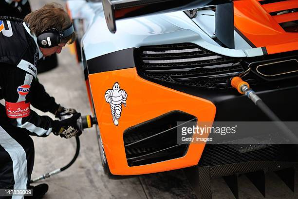 Mechanics work on a car during the Blancpain GT Endurance test day one at Autodromo di Monza on April 13 2012 in Monza Italy