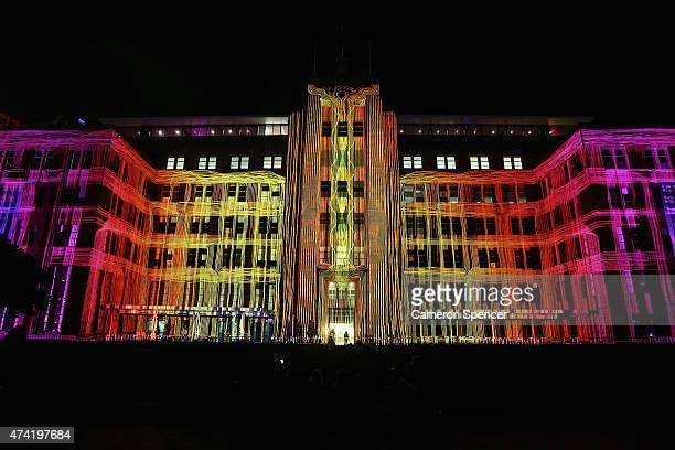 'Mechanised Colour Assemblage' a projected artwork by French projectionist Danny Rose and Australian artist Rebecca Baumann is seen illuminating the...