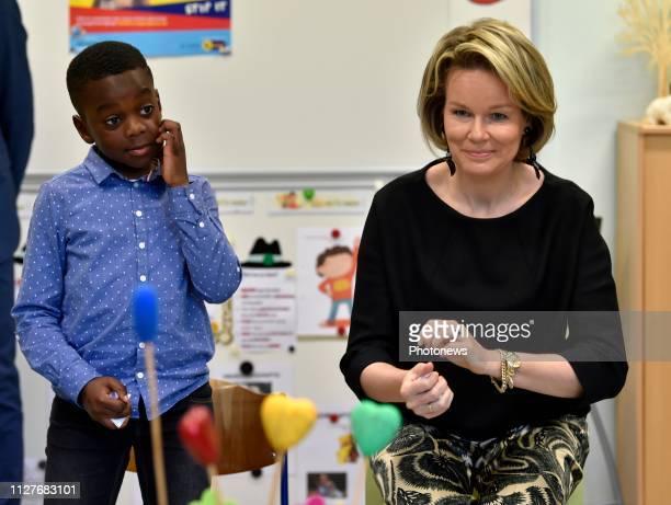 Mechelen Belgium February 27 2018 Bezoek van de Koningin aan de Vrije Basisschool SintJozef Coloma in Mechelen in het kader van de Vlaamse Week tegen...