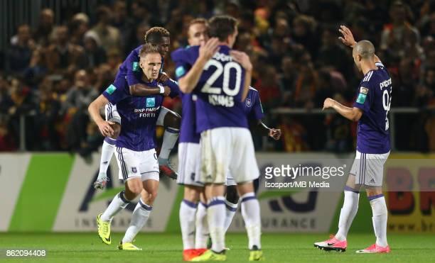 20171013 Mechelen Belgium / Kv Mechelen v Rsc Anderlecht / 'nLukasz TEODORCZYK Henry ONYEKURU Celebration'nFootball Jupiler Pro League 2017 2018...