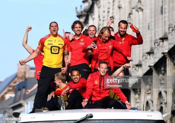 Mechelen Team celebrating winning the Croky Cup final match between KAA Gent and KV Mechelen in the King Baudouin Stadium on May 01, 2019 in...