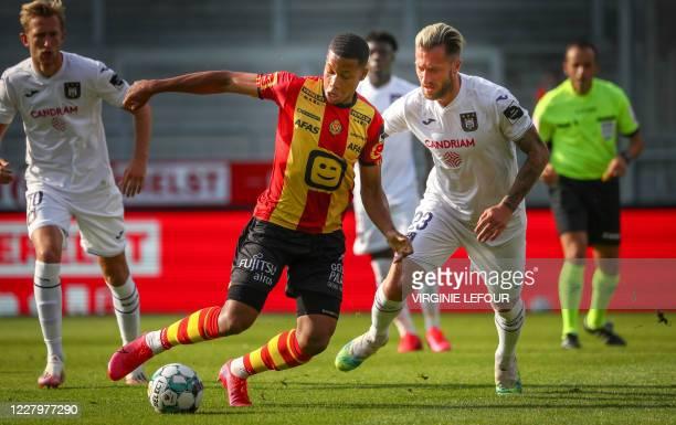 Mechelen's Aster Vranckx fight for the ball during the Jupiler Pro League match between KV Mechelen and RSC Anderlecht, in Mechelen, Sunday 09 August...