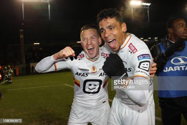 Mechelen's Clement Tainmont and Mechelen's Igor de Camargo celebrate after a soccer game between Royale Union Saint Gilloise and KV Mechelen Tuesday...