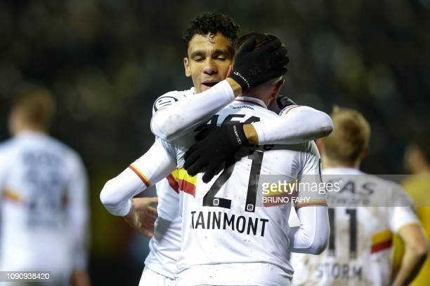 Mechelen's Clement Tainmont celebrates with Igor De Camargo after scoring during a soccer game between Royale Union Saint Gilloise and KV Mechelen...