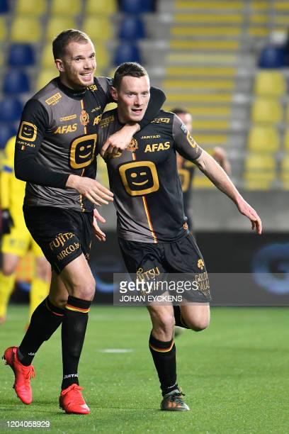 Mechelen's Geoffrey Hairemans and Mechelen's Rob Schoofs celebrate after scoring during a soccer match between Sint-Truidense VV and KV Mechelen,...