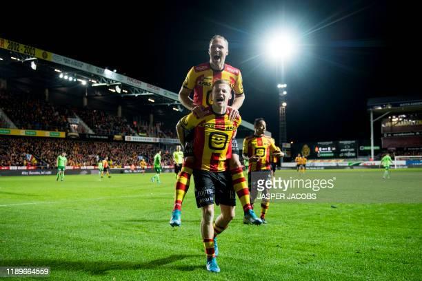 Mechelen's Gustav Engvall and Mechelen's Nikola Storm celebrate after scoring during a soccer match between KV Mechelen and KV Oostende, Friday 20...