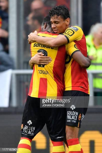 Mechelen's Igor de Camargo and Mechelen's William Togui celebrate after scoring during a soccer match between KV Mechelen and Royal Antwerp FC,...