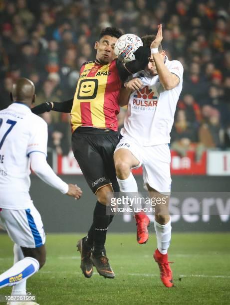 Mechelen's Igor de Camargo and Union's Ismael Kandouss fight for the ball during a soccer game between KV Mechelen and Royale Union Saint Gilloise...