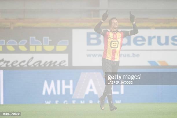 Mechelen's Igor de Camargo celebrates after scoring during a soccer game between KV Mechelen and Roeselare Friday 18 January 2019 in Mechelen on the...