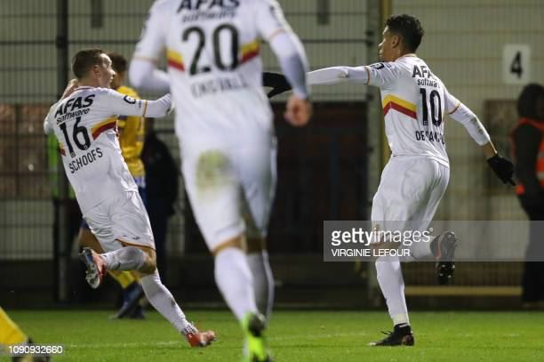 Mechelen's Igor de Camargo celebrates after scoring during a soccer game between Royale Union Saint Gilloise and KV Mechelen Tuesday 29 January 2019...