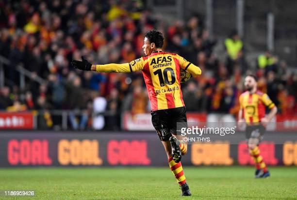 Mechelen's Igor de Camargo celebrates after scoring during a soccer match between KV Mechelen and KV Kortrijk, Saturday 07 December 2019 in Mechelen,...