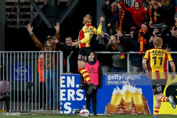 Mechelen's Igor de Camargo celebrates after scoring during a soccer match between KV Mechelen and Standard de Liege, Friday 17 January 2020 in...