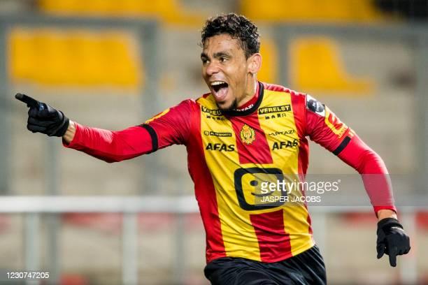 Mechelen's Igor de Camargo celebrates after scoring during a soccer match between KV Mechelen and KAS Eupen, Saturday 23 January 2021 in Mechelen, on...