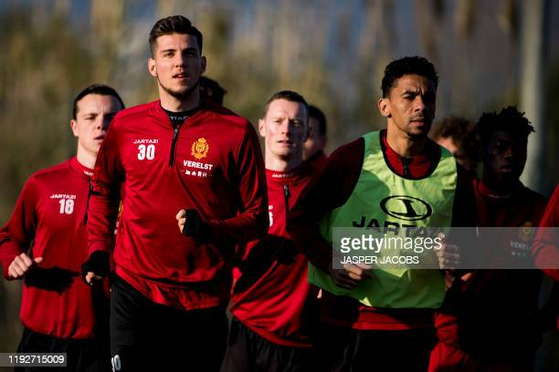 Mechelen's Jordi Vanlerberghe and Mechelen's Igor de Camargo pictured during the winter training camp of Belgian first division soccer team KV...