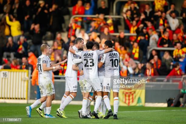 Mechelen's Jordi Vanlerberghe celebrates after scoring during a soccer match between KAS Eupen and KV Mechelen, Saturday 05 October 2019 in Mechelen,...