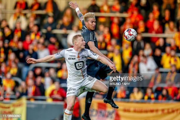 Mechelen's Jules Van Cleemput and Eupen's Adalberto Penaranda fight for the ball during a soccer match between KAS Eupen and KV Mechelen, Saturday 05...