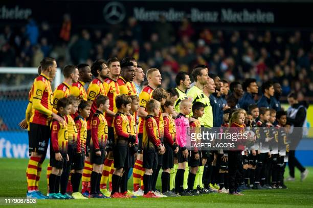 Mechelen's player and STVV's players pictured at the start of a soccer match between KV Mechelen and STVV Sint-Truiden, Wednesday 30 October 2019 in...