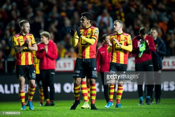 Mechelen's players after winning a soccer match between KV Mechelen and KV Oostende, Friday 20 December 2019 in Mechelen, on day 20 of the 'Jupiler...