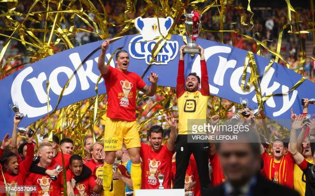 Mechelen's players celebrate after winning a soccer game between KAA Gent and KV Mechelen, the final of the Croky Cup competition, Wednesday 01 May...