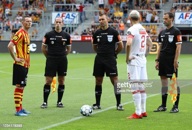 Mechelen's Rob Schoofs and Antwerp's Ritchie De Laet pictured before a soccer match between KV Mechelen and Royal Antwerp FC, Sunday 25 July 2021 in...
