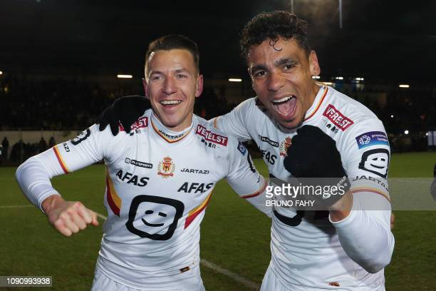 Mechelen's scorers Tainmont and De Camargo celebrate after a soccer game between Royale Union Saint Gilloise and KV Mechelen Tuesday 29 January 2019...