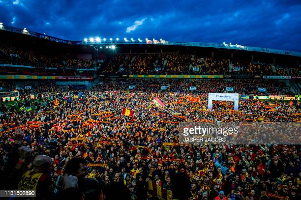 Mechelen's supporters pictured during the champion celebrations for KV Mechelen, after winning the soccer game between KV Mechelen and Beerschot...