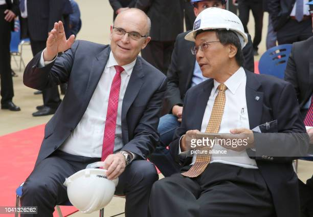 Mecklenburg-Western Pomerani Prime Minister Erwin Sellering can be seen with head of the Genting Group, Tan Sri Lim Kok Thay. At the keel laying of...