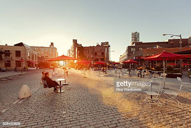Mecktpacking district at sunset with lens flares. Is a neighborhood in the New York City borough of Manhattan.