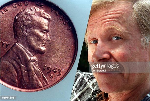 MECoinBensonDB7/21/97SantaAna Steve Benson holds a photograph of a rare 1943 copper penny that he recently sold for $50000 The penny is rare because...
