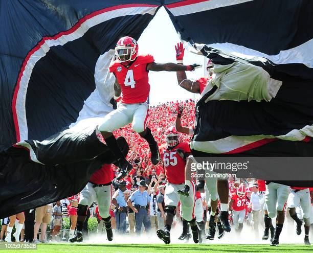 Mecole Hardman of the Georgia Bulldogs takes the field before the game against the Austin Peay Governors on September 1, 2018 in Athens, Georgia.