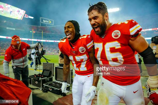 Mecole Hardman of the Kansas City Chiefs and Laurent DuvernayTardif of the Kansas City Chiefs laugh as they exit the field following the 5131 victory...