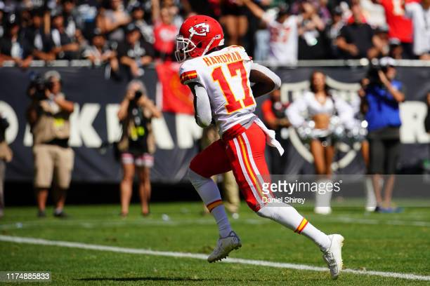 Mecole Hardman of the Kansas City Chiefs catches a pass for a touchdown during the second quarter against the Oakland Raiders at RingCentral Coliseum...