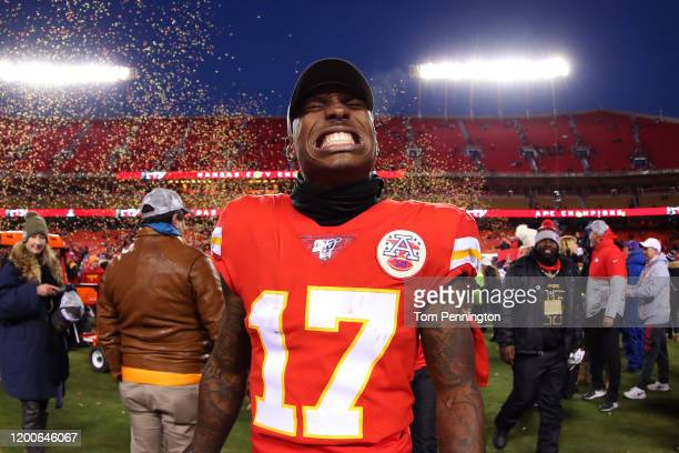 Mecole Hardman of the Kansas City Chiefs celebrates after defeating the Tennessee Titans in the AFC Championship Game at Arrowhead Stadium on January...