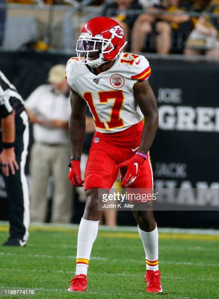Mecole Hardman of the Kansas City Chiefs in action during a preseason game against the Pittsburgh Steelers on August 17 2019 at Heinz Field in...