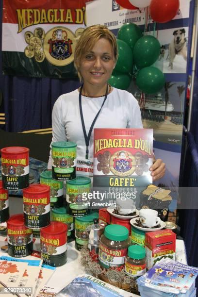 A Medaglia D'Oro Espresso Coffee vendor at the Miami Herald Travel Expo